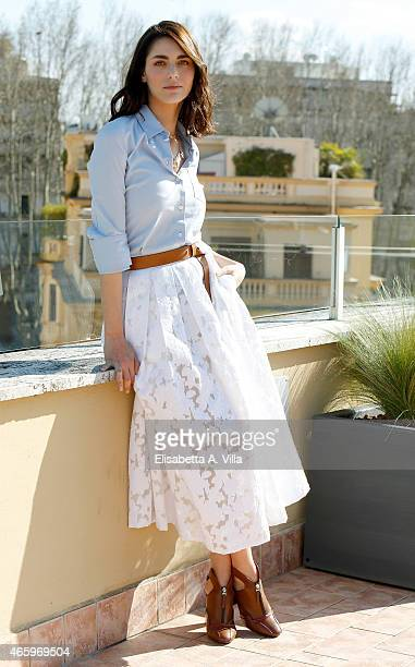 Actress Miriam Leone attends 'La Dama Velata' Tv Movie photocall at Lux Vide on March 12 2015 in Rome Italy