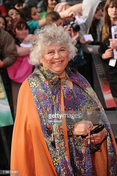Actress Miriam Margolyes attends the World Premiere of Harry Potter and The Deathly Hallows Part 2 at Trafalgar Square on July 7 2011 in London...
