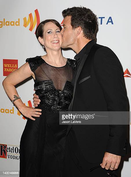 Actress Miriam Shor and actor Mark Deklin attend the 23rd annual GLAAD Media Awards at Westin Bonaventure Hotel on April 21 2012 in Los Angeles...