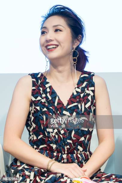 Actress Miriam Yeung receives interview about Rosamund Kwan Chilam's Rosamund MOISELLE show during the Shanghai Fashion Week Spring/Summer 2018 on...