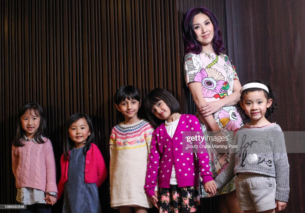 3228aab588 Actress Miriam Yeung with five child actresses (from left to right) Fu Shun-
