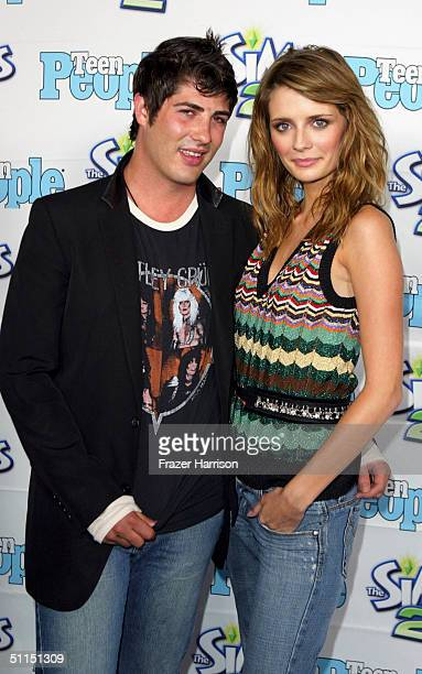 """Actress Mischa Barton and boyfriend Brandon Davis arrive at the 1st Annual Teen People """"Young Hollywood"""" Issue party held on August 7, 2004 at the..."""