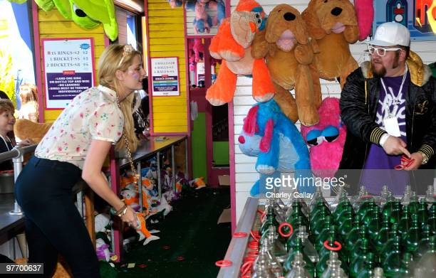 Actress Mischa Barton and comedian/actor Stephen Glickman attend the MakeAWish Foundation's Day of Fun hosted by Kevin Steffiana James held at Santa...