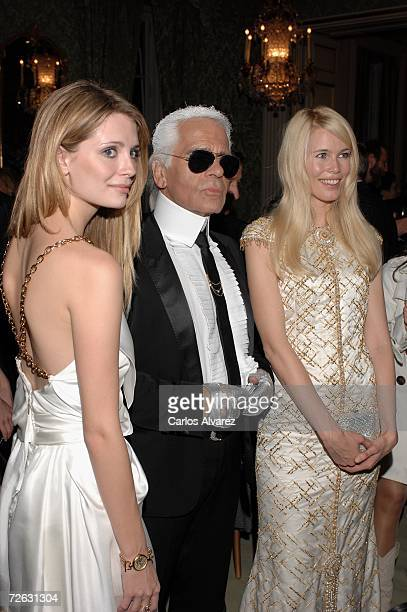 Actress Mischa Barton designer Karl Lagerfeld and model Claudia Schiffer attend the Marie Clare Awards French Embassy November 22 2006 in Madrid Spain
