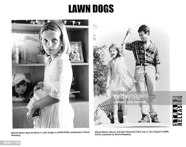 Actress Mischa Barton on set actress Mischa Barton and Sam Rockwell in a scene from the movie 'Lawn Dogs' circa 1997