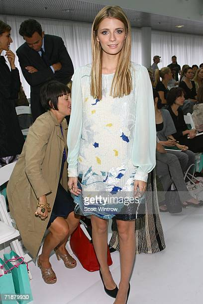 Actress Mischa Barton poses in the front row at the Matthew Williamson Spring 2007 fashion show during Olympus Fashion Week at Pier 79 September 13...