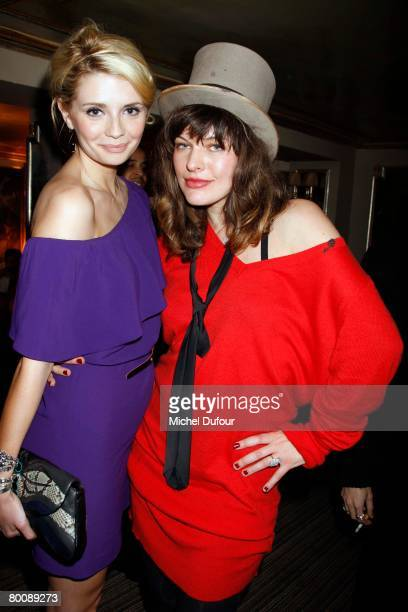 Actress Mischa Barton poses with designer and model Milla Jovovich during the Lou Doillon Party for Lee Cooper party during Paris Fashion Week...