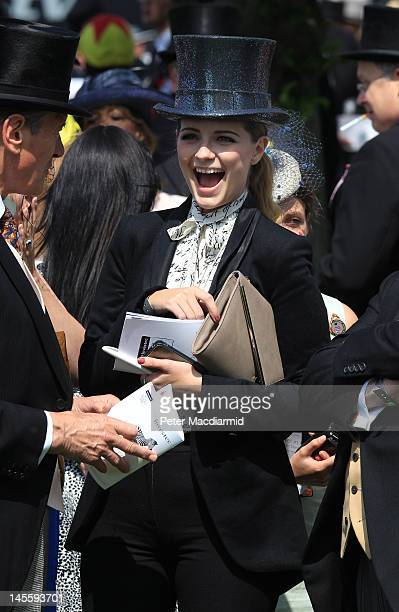 Actress Mischa Barton smiles in the parade ring before The Derby on June 2, 2012 in Epsom, England. For only the second time in its history, the UK...