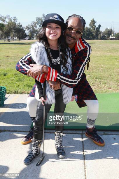 Actress Miss Karissa B and music artist Snoop Dogg attends the Golf Beef 4 Honoring Cedric The Entertainer and Gary Payton The Glove at Chester...