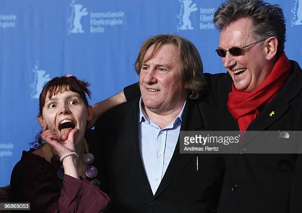 Actress Miss Ming actor Gerard Depardieu and director Benoit Delepine attend the 'Mammuth' Photocall during day nine of the 60th Berlin International...