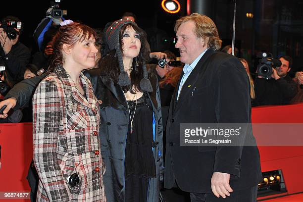 Actress Miss Ming actress Isabelle Adjani and actor Gerard Depardieu attend the 'Mammuth' Premiere during day nine of the 60th Berlin International...