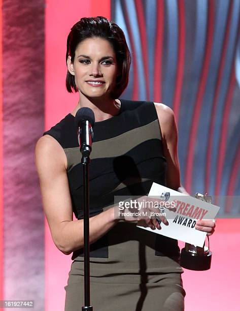 Actress Missy Peregrym accepts the award for Best Female Performance Drama onstage at the 3rd Annual Streamy Awards at Hollywood Palladium on...
