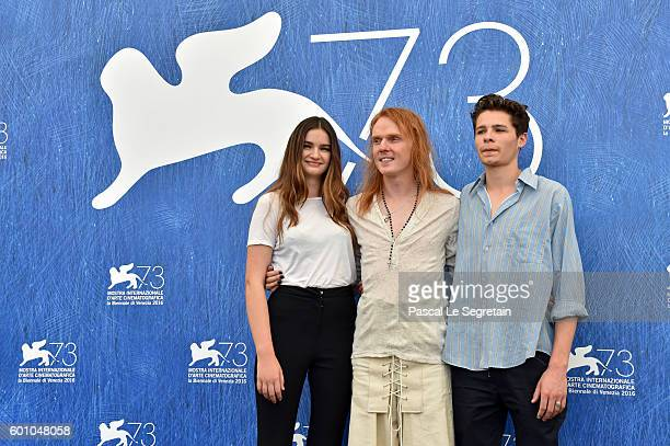 Actress Mitzi Ruhlmann director Nicholas Verso and actor Toby Wallace attend a photocall for 'Boys In The Trees' during the 73rd Venice Film Festival...
