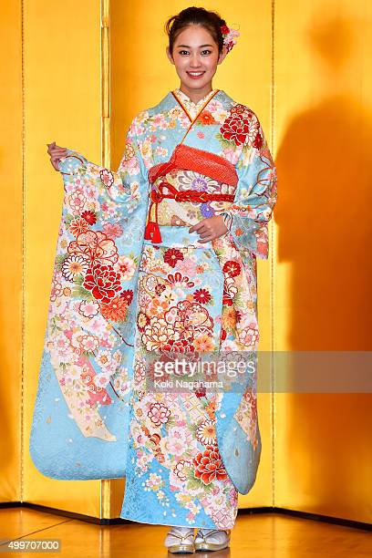Actress Miyu Yoshimoto attends the New Year's Kimono photocall for Oscar Promotion on December 3 2015 in Tokyo Japan