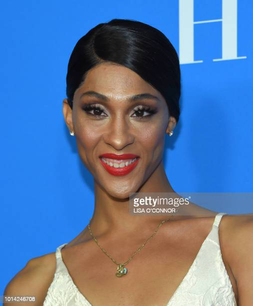 US actress MJ Rodriguez attends the Hollywood Foreign Press Associations Annual Grants Banquet in Los Angeles California on August 9 2018