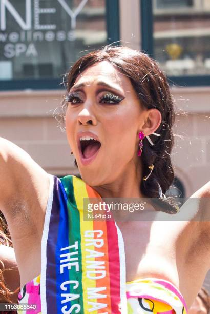 Actress MJ Rodriguez from the popular tv series Pose celebrates as a Grand Marshall at the annual Pride Parade on Sunday June 29 2019 in New York NY...