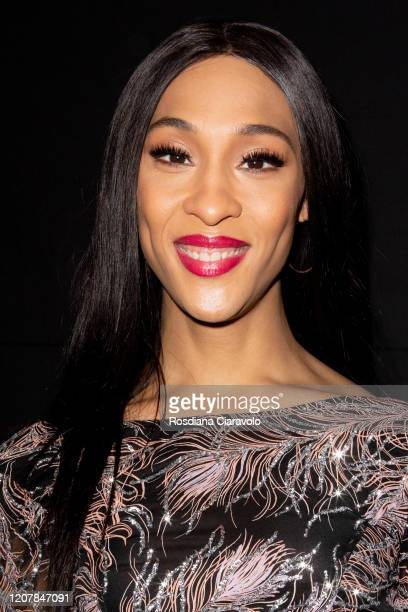 Actress Mj Rodriguez is seen backstage at the Etro fashion show on February 21, 2020 in Milan, Italy.