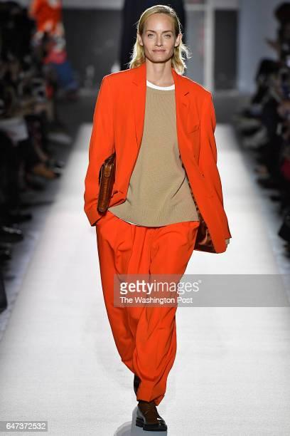 Actress/ model Amber Valetta walks in the Dries Van Noten Fall/Winter 2017 collection