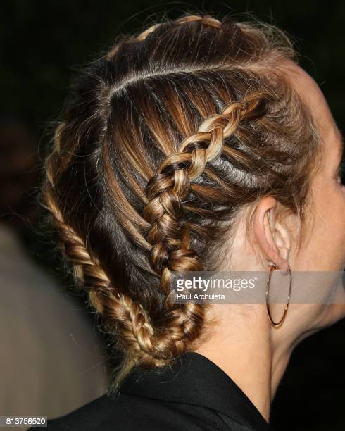 Actress / Model Amber Valletta Hair Detail attends the Chanel dinner celebrating Lucia Pica The Travel Diary Makeup Collection at Capo on July 12...