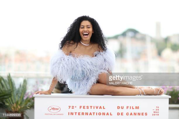 TOPSHOT US actress model and transgender activist Leyna Bloom poses during a photocall for the film Port Authority at the 72nd edition of the Cannes...