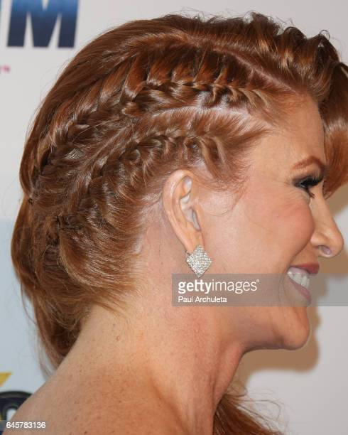 Actress / Model Angie Everhardt Hair Detail attends the 27th annual 'Night Of 100 Stars' black tie dinner viewing gala at The Villa Aurora on...