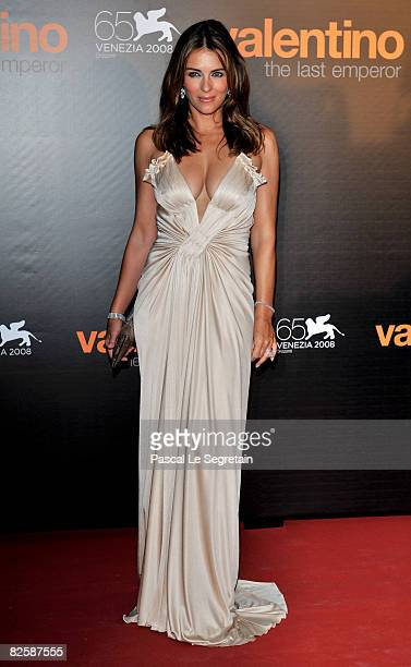 Actress / model Elizabeth Hurley attends the premiere of the movie Valentino The Last Emperor held at Teatro La Fenice during the 65th Venice Film...