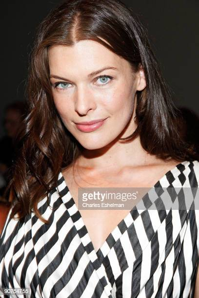 Actress model Milla Jovovich attends the Donna Karan Spring 2010 Collection during MercedesBenz Fashion Week at 711 Greenwich Street on September 14...
