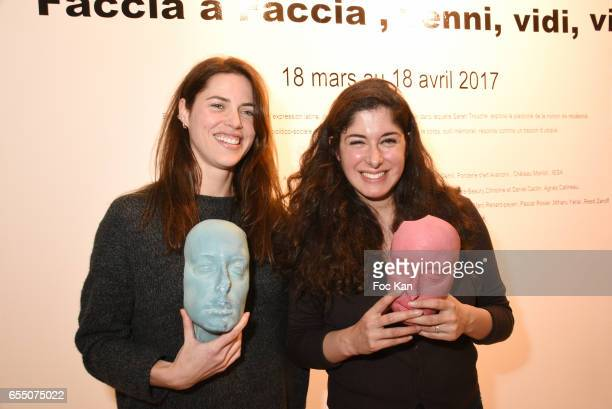 Actress /model Zoe Duchesne and visual artist Sarah Trouche during the 'Faccia A Faccia' Sarah Trouche performance exhibition at Galerie Vanessa...