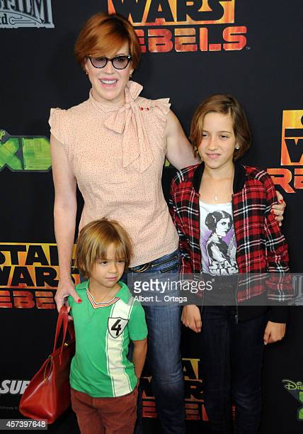 Actress Molly Ringwald and children Mathilda Ereni Gianopolous and Roman Stylianos Gianopoulos arrive for Disney XD's 'Star Wars Rebels Spark Of...