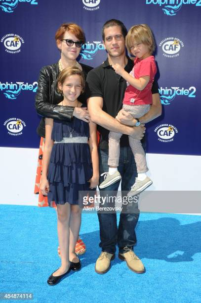 Actress Molly Ringwald and family attend the Los Angeles Premiere of 'Dolphin Tale 2' at Regency Village Theatre on September 7 2014 in Westwood...