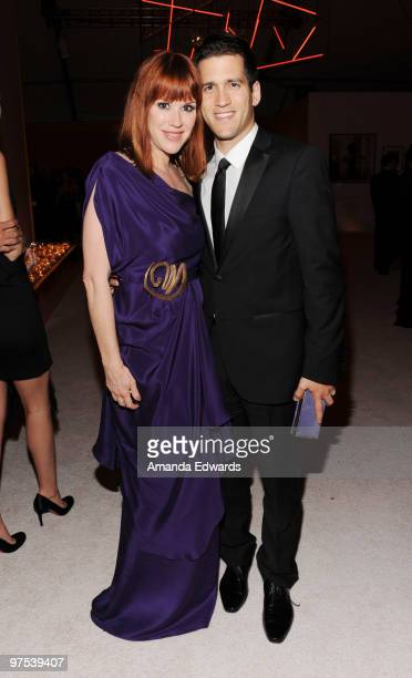 Actress Molly Ringwald and her husband Panio Gianopoulos attend the Elton John AIDS Foundation Oscar Viewing Party at the Pacific Design Center on...