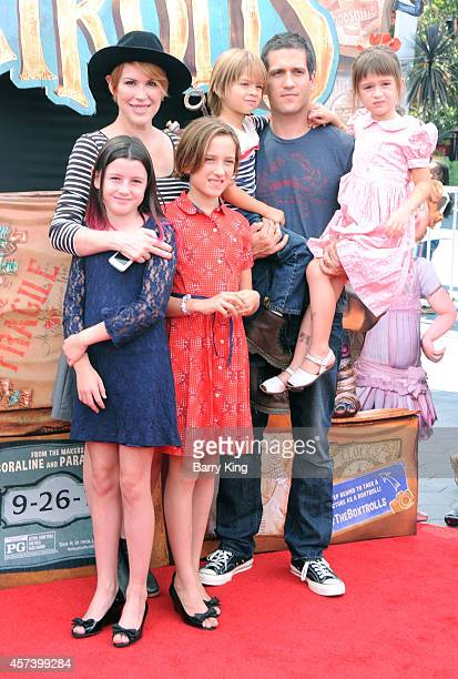 Actress Molly Ringwald and husband Panio Gianopoulos and their children attend the premiere of 'The Boxtrolls' at Universal CityWalk on September 21...