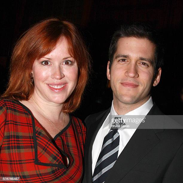 Actress Molly Ringwald and husband Panio Gianopoulos pose at the opening night party for David Mamet's November at Bond 45 on January 17 2008 in New...