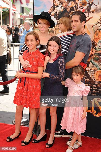 Actress Molly Ringwald husband Panio Gianopoulos and children arrive at the premiere of Focus Features' The Boxtrolls held at Universal CityWalk