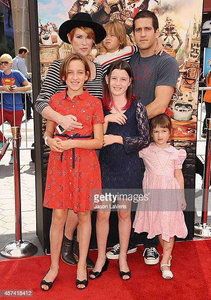 Actress Molly Ringwald husband Panio Gianopoulos and children attend the premiere of The Boxtrolls at Universal CityWalk on September 21 2014 in...