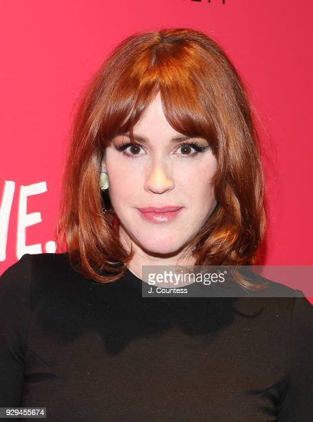 Actress Molly Ringwald poses for a photo at the screening of 'Love Simon' hosted by 20th Century Fox Wingman at The Landmark at 57 West on March 8...