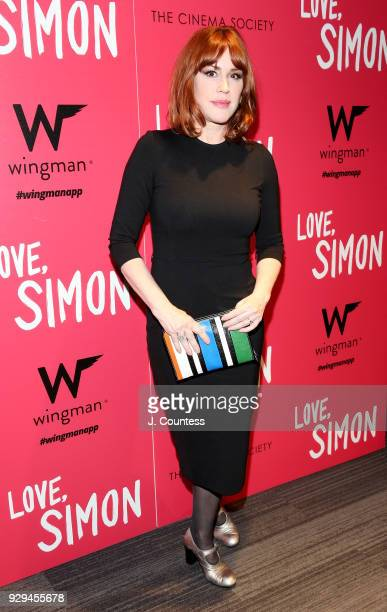 "Actress Molly Ringwald poses for a photo at the screening of ""Love, Simon"" hosted by 20th Century Fox & Wingman at The Landmark at 57 West on March..."