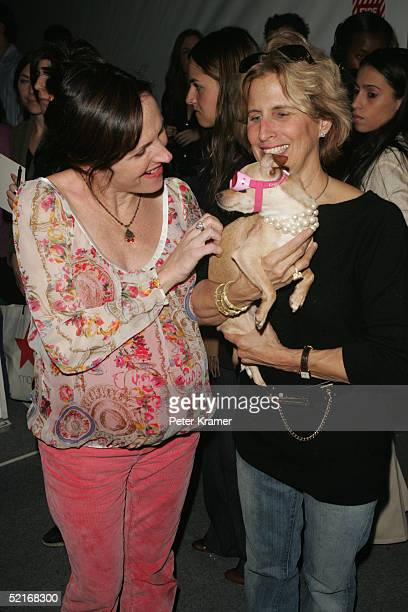 Actress Molly Shannon and Debbie Stark, holding Lucy Anne, attend the Cynthia Rowley Fall 2005 show during Olympus Fashion Week at Bryant Park...