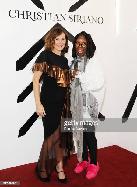 Actress Molly Shannon and Whoopi Goldberg pose backstage for the Christian Siriano fashion show during New York Fashion Week at the Grand Lodge on...