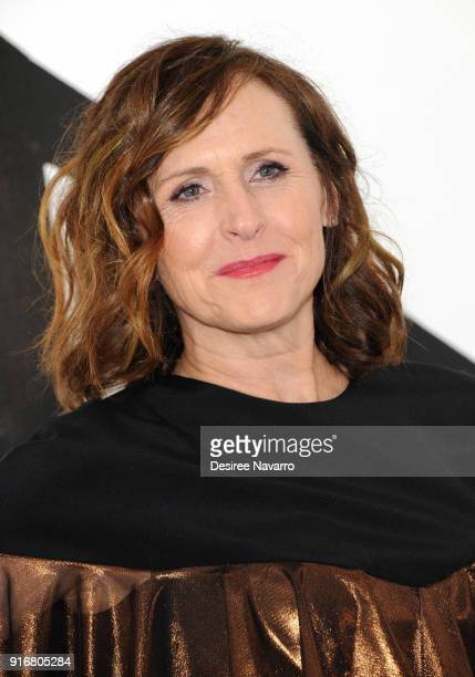 Actress Molly Shannon poses backstage for the Christian Siriano fashion show during New York Fashion Week at the Grand Lodge on February 10 2018 in...