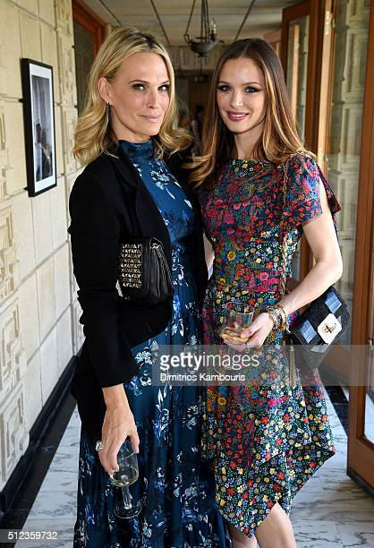 Actress Molly Sims and Cofounder designer of Marchesa Georgina Chapman attend the MAC Cosmetics Zac Posen luncheon at the Ennis House hosted by Karen...