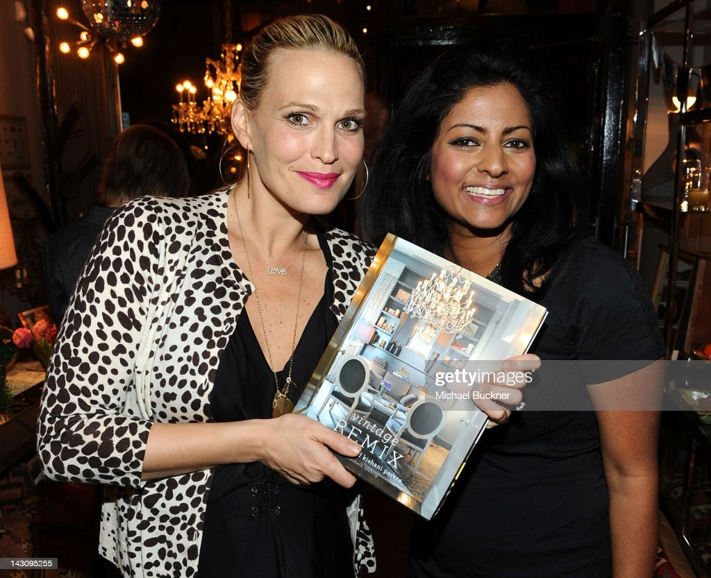 Actress Molly Sims (L) and designer Kishani Perera attend the Launch Party for Kishani Perera's new book, 'Vintage Remix' at Rummage on April 18, 2012 in Los Angeles, California.