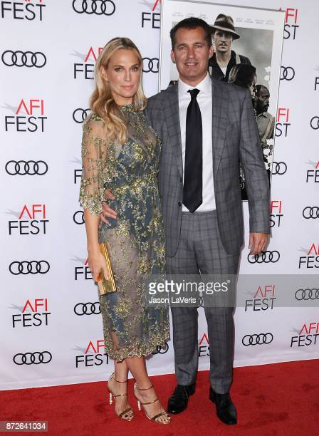 Actress Molly Sims and husband Scott Stuber attend the 2017 AFI Fest opening night gala screening of 'Mudbound' at TCL Chinese Theatre on November 9...