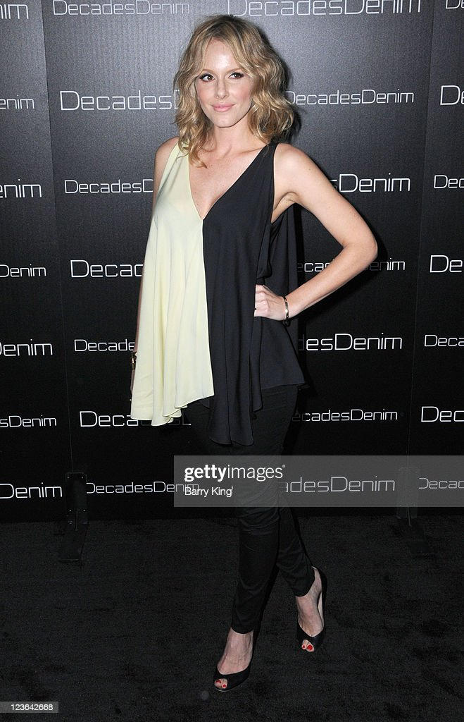 Actress Monet Mazur arrives at Decades Denim Launch Party at a private residence on November 2, 2010 in Beverly Hills, California.