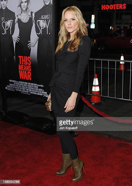 Actress Monet Mazur arrives at the Los Angeles Premiere This Means War at Grauman's Chinese Theatre on February 8 2012 in Hollywood California