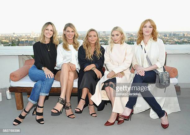 Actress Monet Mazur model Angela Lindvall designers MaryKate Olsen and Ashley Olsen and actress Christina Hendricks attend Elizabeth and James...