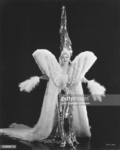 Actress Monica Bannister wears a costume that is a snowy mass of 3000 yards of snow marabou for the 1936 film The Great Ziegfeld.