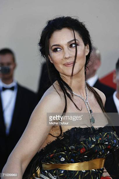 Actress Monica Bellucci arrives at the 'Marie Antoinette' premiere as part of the 59th International Cannes Film Festival on May 24 2006 in Cannes...