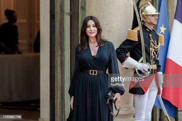 Actress Monica Bellucci arrives for state diner with Italian President Sergio Mattarella and his daughter Laura Mattarella and French President...