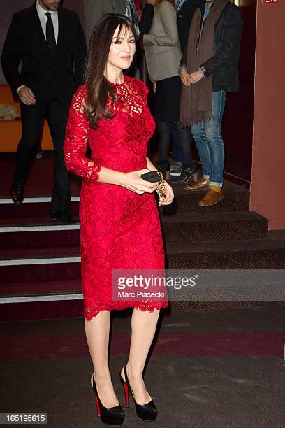 Actress Monica Bellucci arrives to attend the 'Des Gens Qui S'embrassent' Premiere at Cinema Gaumont Marignan on April 1 2013 in Paris France